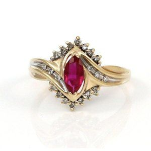 Solid 10K Red Ruby Marquise Halo Ring Size 8.5